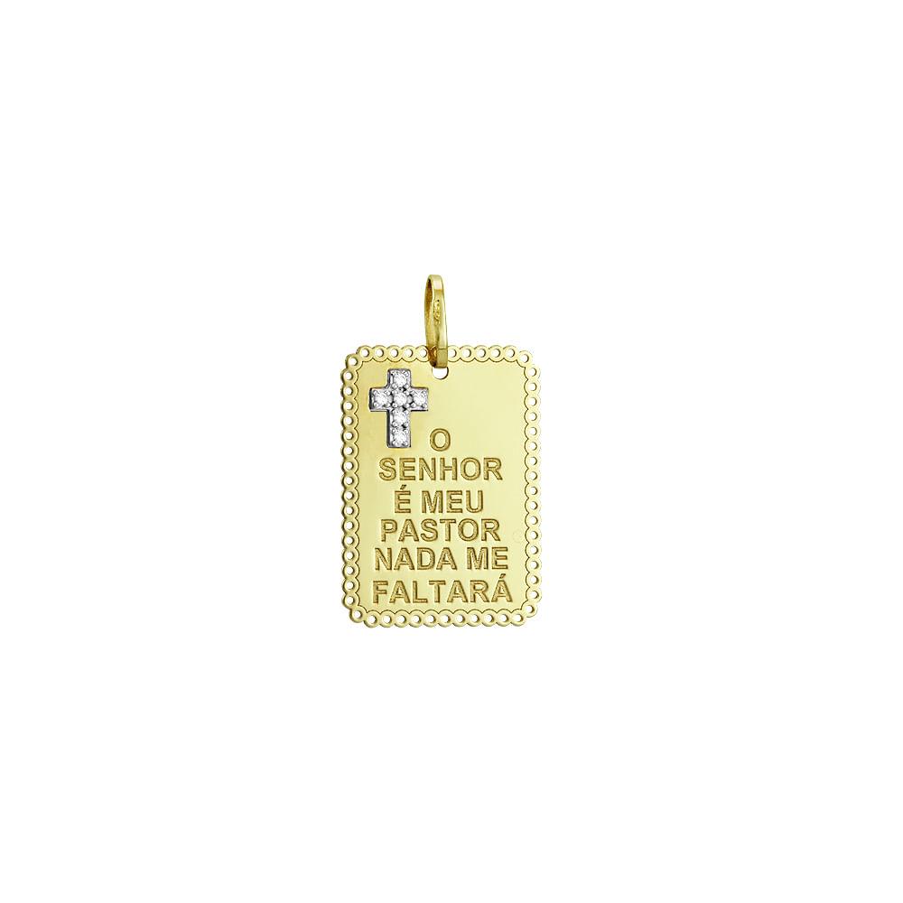 Pingente em Ouro 18K Placa O Senhor é Meu Pastor - AU1749   Bruna ... 89bf54f671