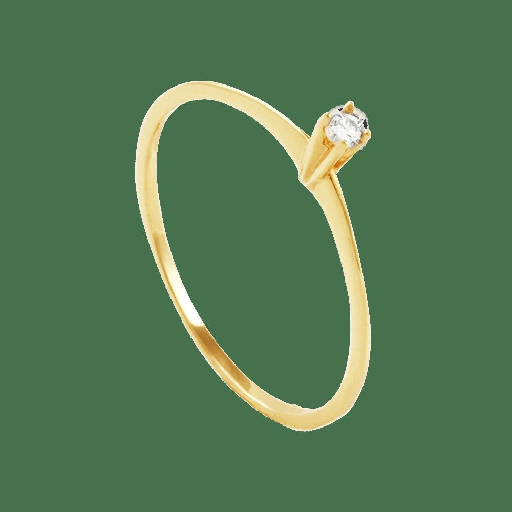 Anel Solitário em Ouro 18K com Diamante - AU2434   Bruna Tessaro ... b36b4bbe5a