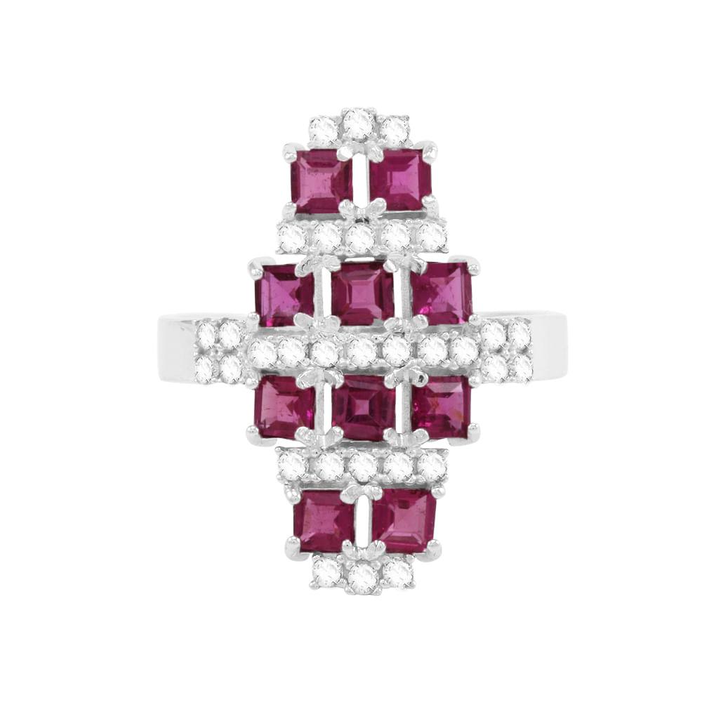 1df0755ea4e60 Anel em Ouro Branco 18K com Rubelitas e Diamantes - AU1241   Bruna ...