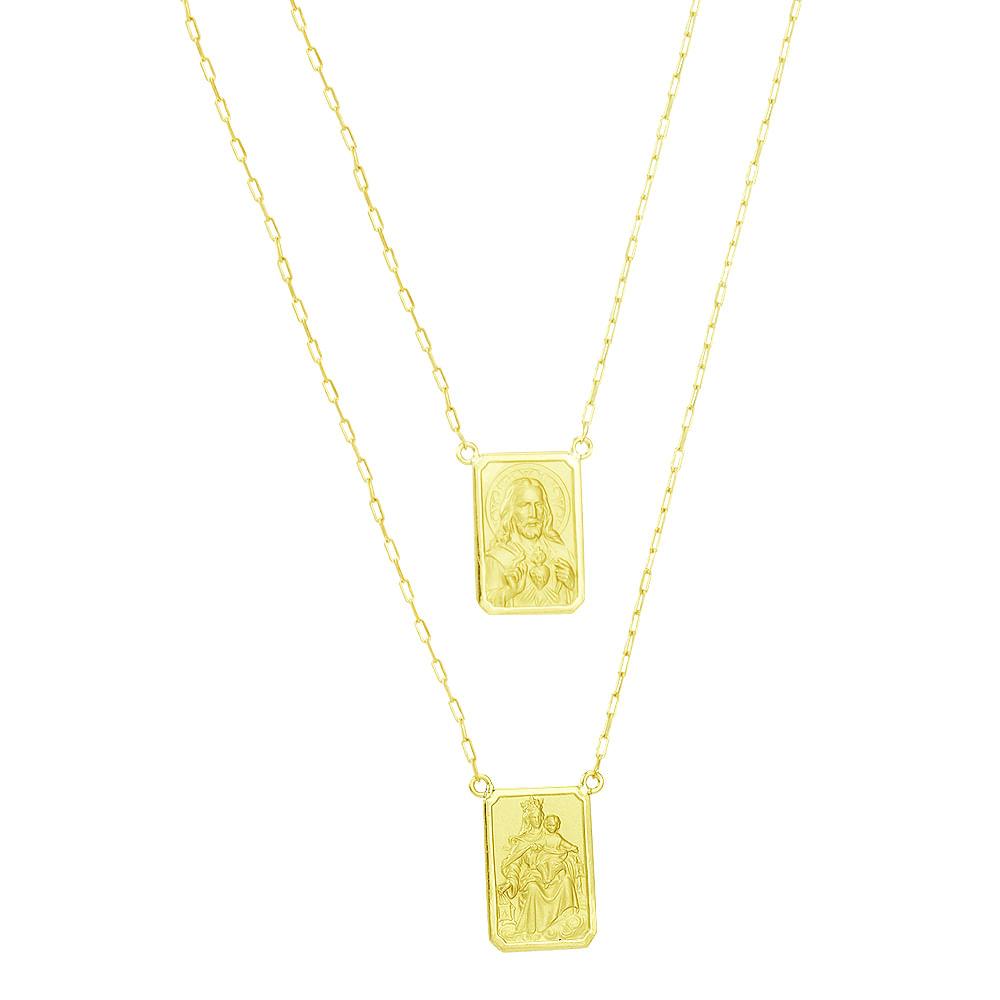 0a6d665800505 Escapulário em Ouro 18K N. Sra. do Carmo e Sagrado Coração - AU2714 - 60CM