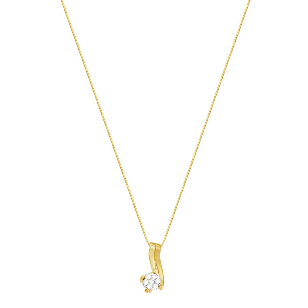 Gargantilha em Ouro 18K Flor com Diamantes - AU2690   Bruna Tessaro ... 0a8d1e7b8a
