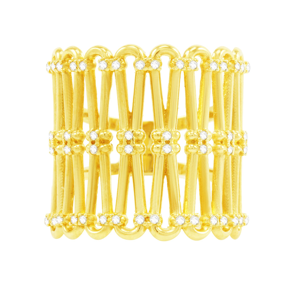 b0956ffd13fd2 Anel em Ouro 18K Tricot com Diamantes- AU1117   Bruna Tessaro Joias ...