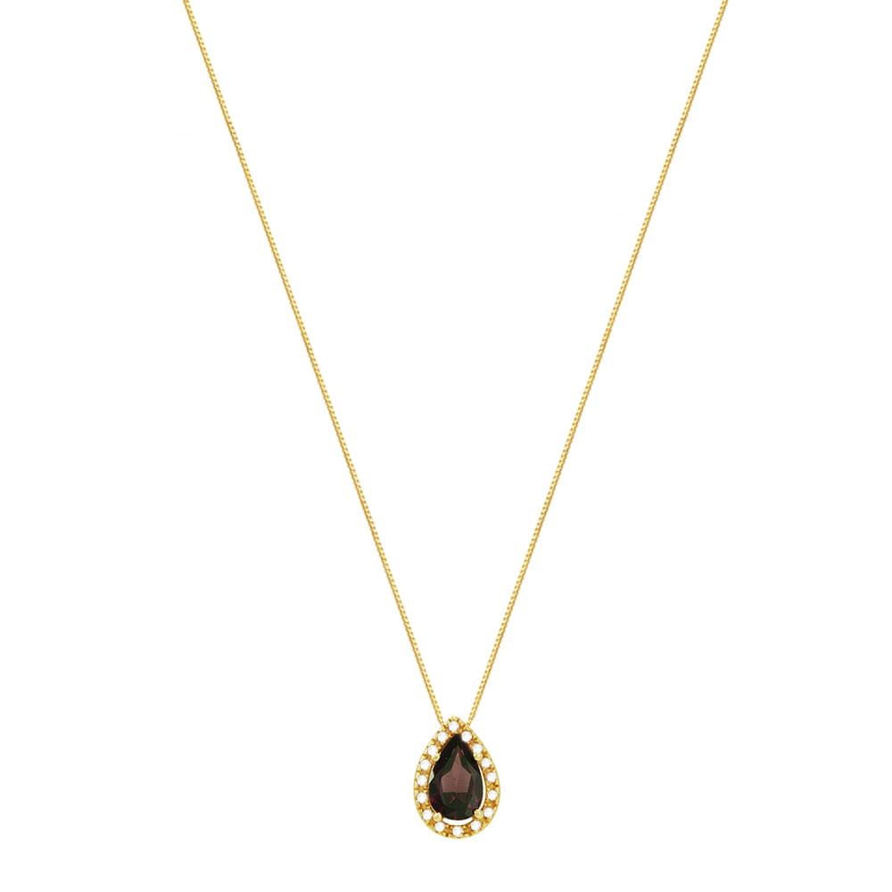 13b88629804 Gargantilha em Ouro 18K com Rodolita e Diamantes - AU2883 - 45CM