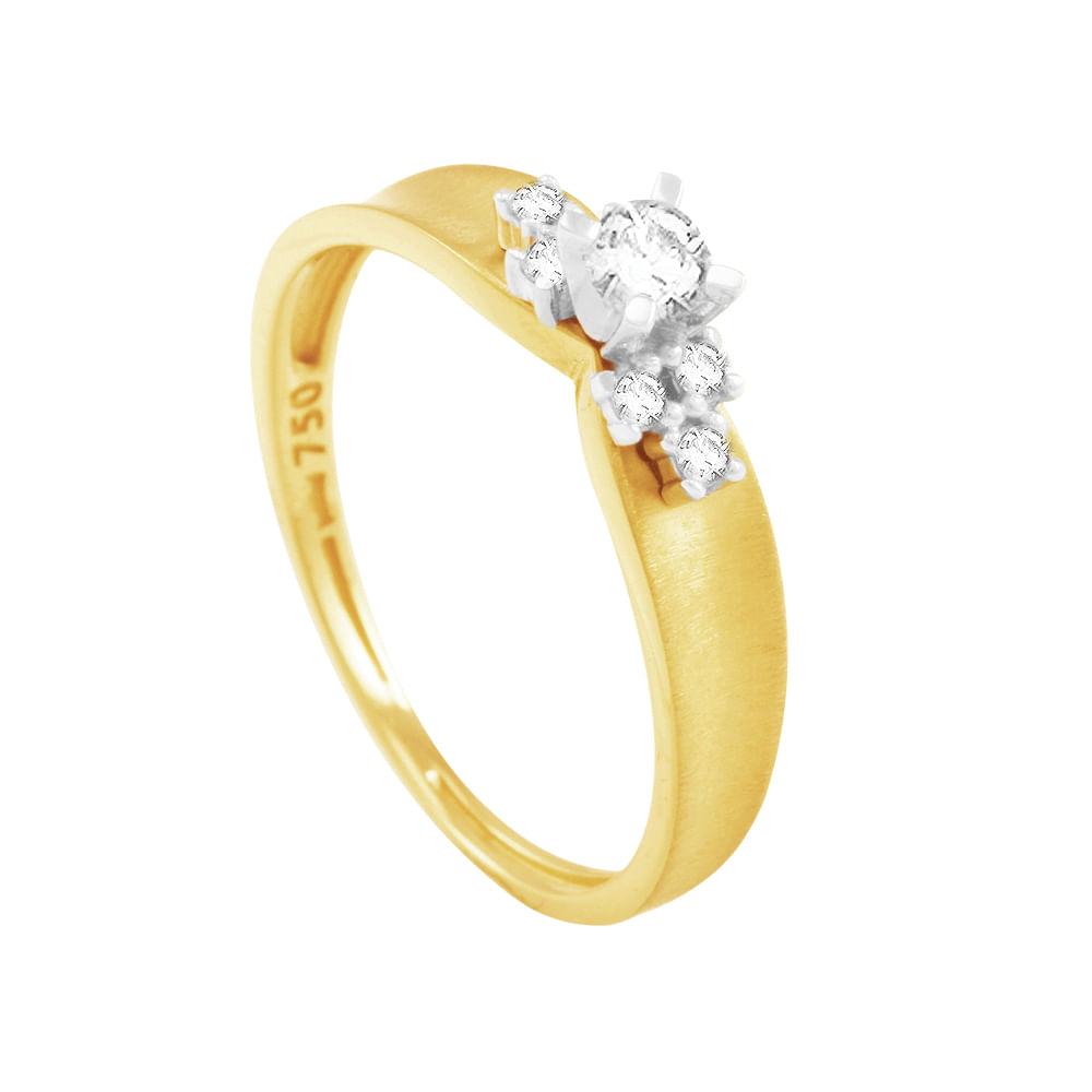 Anel Solitário em Ouro 18K com Diamantes - AU1034   Bruna Tessaro ... e9b38ef965