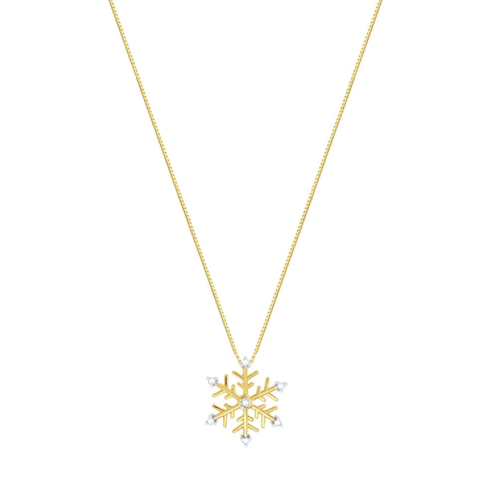 Gargantilha em Ouro 18K com Pingente Flocos de Neve - AU3331   Bruna ... 76498a0554