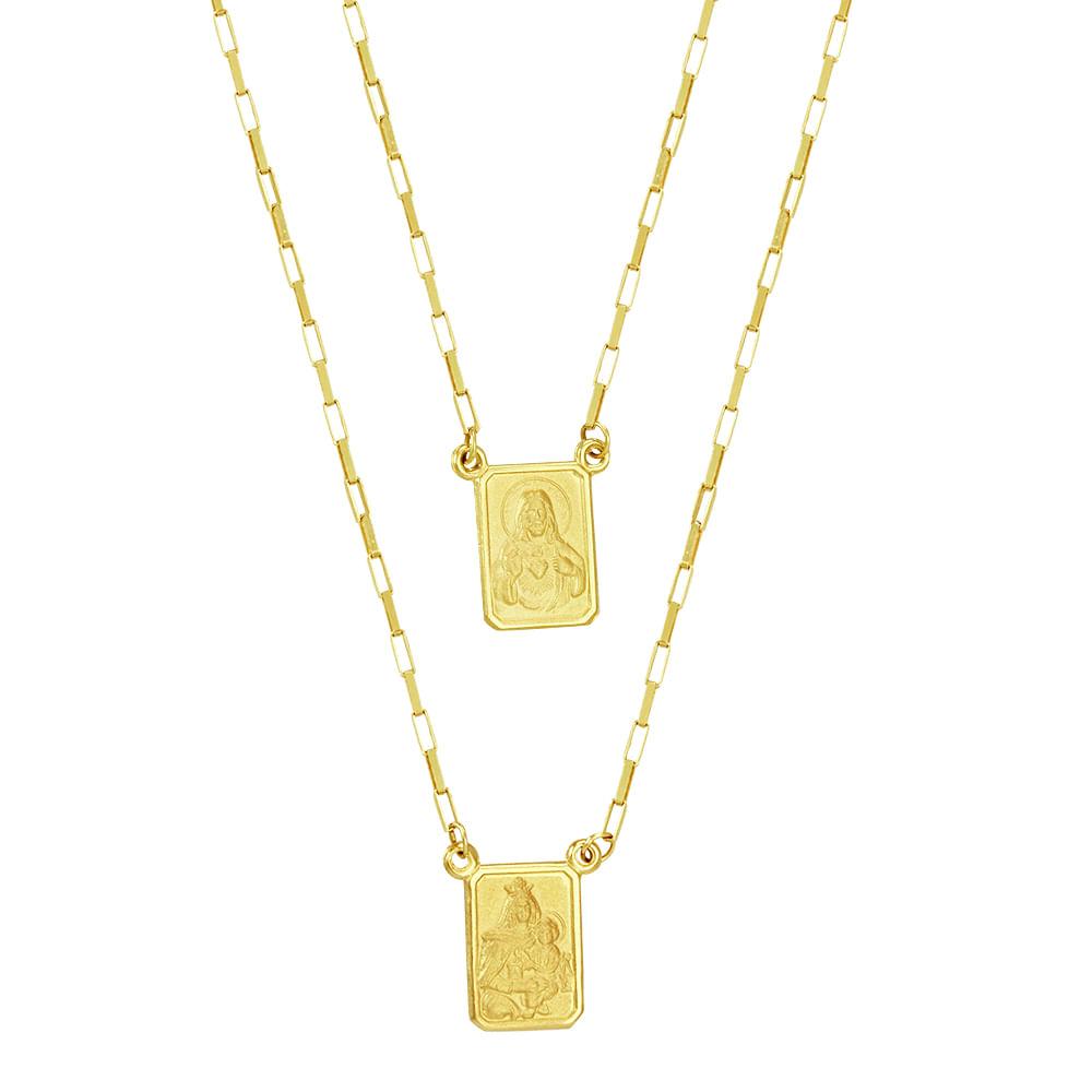Escapulário em Ouro 18K N. Sra. do Carmo e Sagrado Coração - AU3402 - 60CM 21a877594f