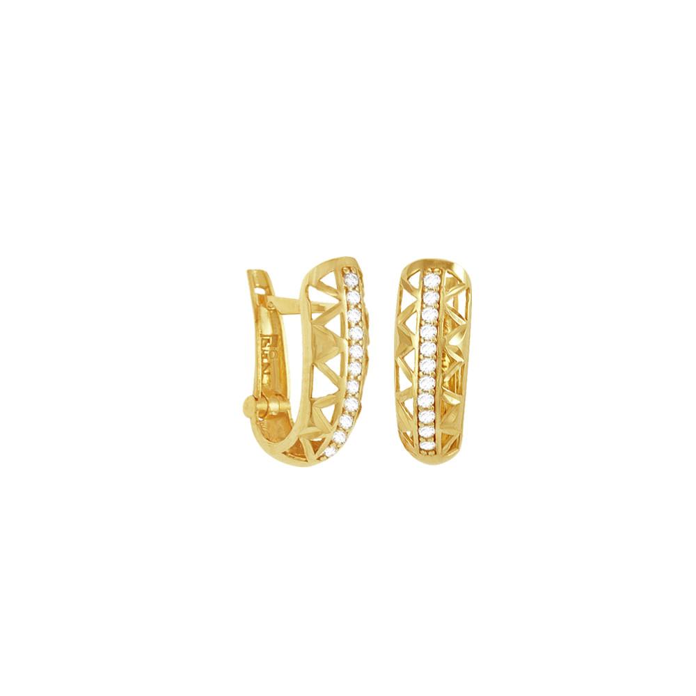 Brinco Argola em Ouro 18K Vazado com Zircônia - AU3406   Bruna ... ecd578a62d