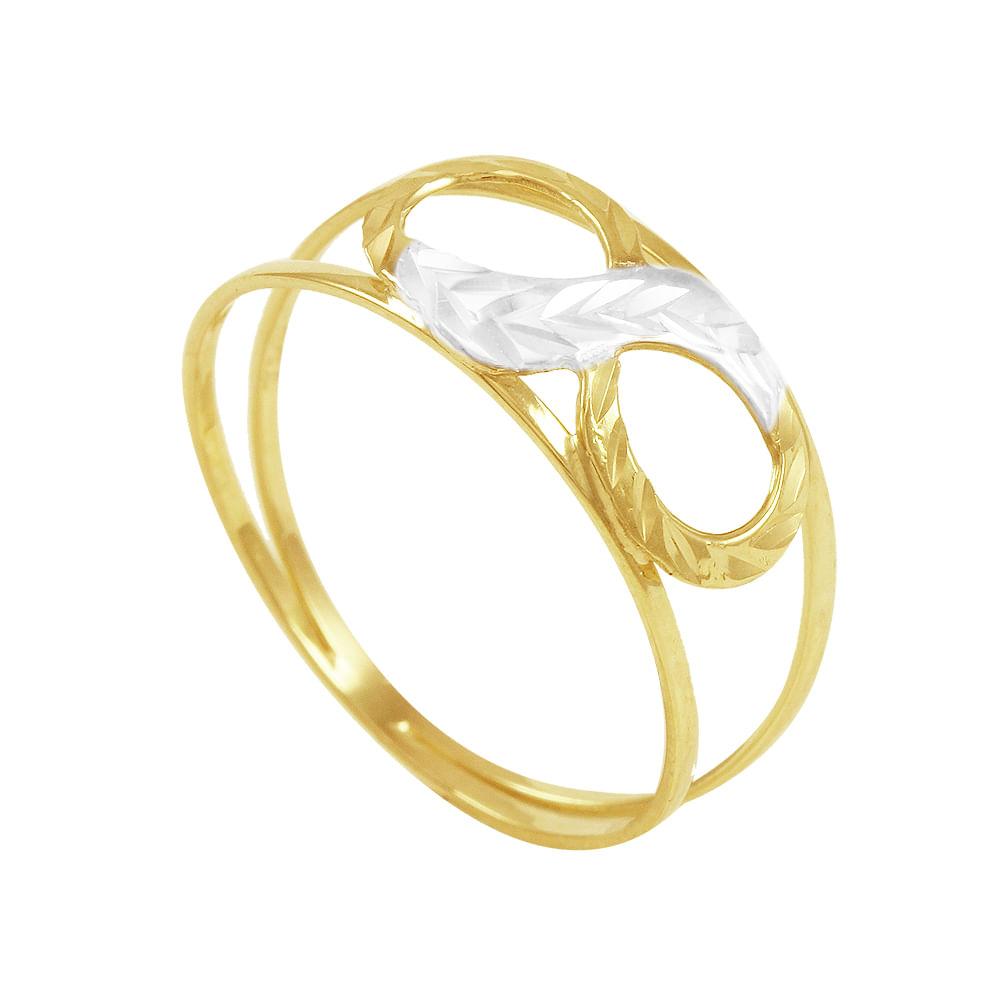 f9a749fc17164 Anel em Ouro 18K Infinito Bicolor - AU3474