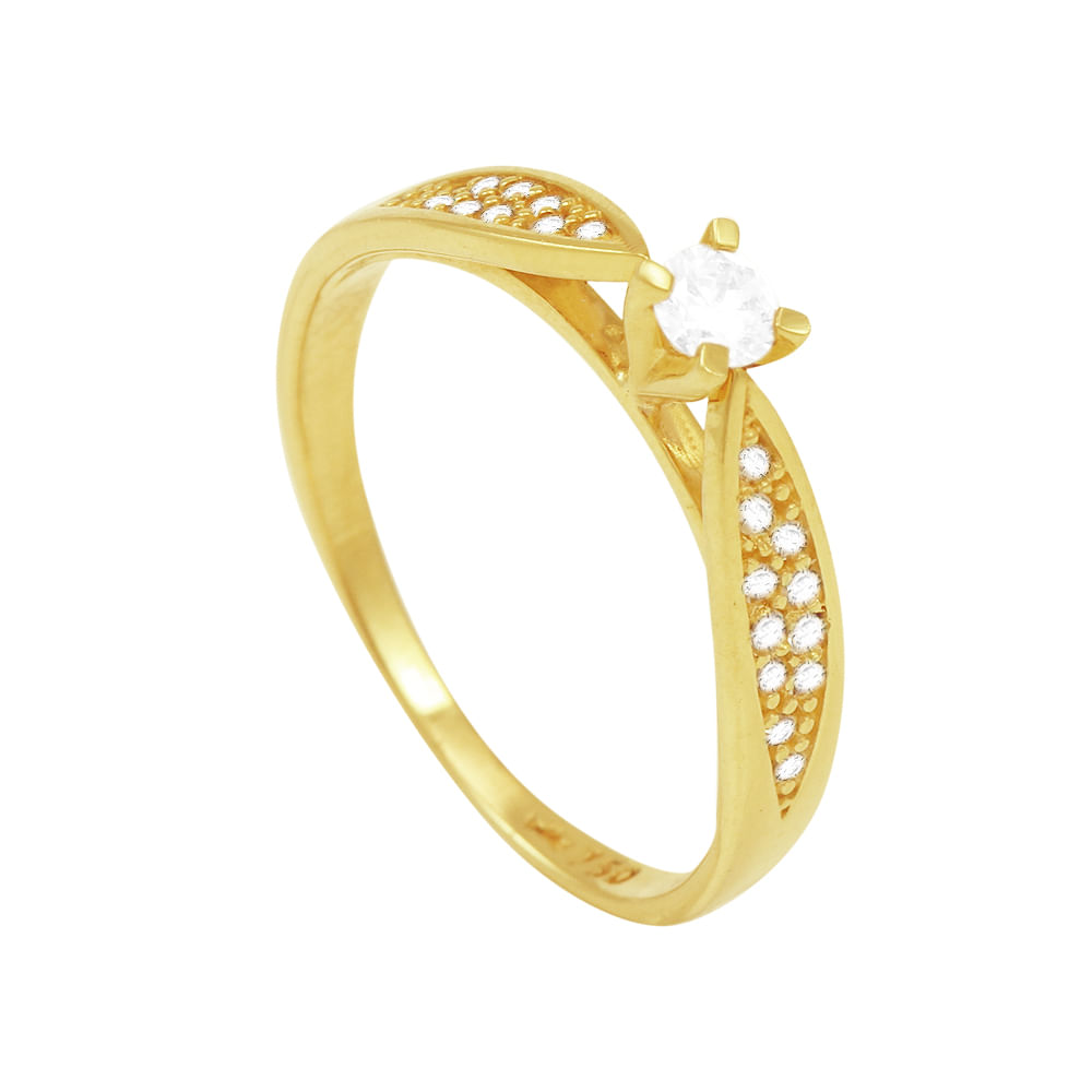 8b75129db Anel Solitário em Ouro 18K com Diamantes - AU1029 | Bruna Tessaro ...