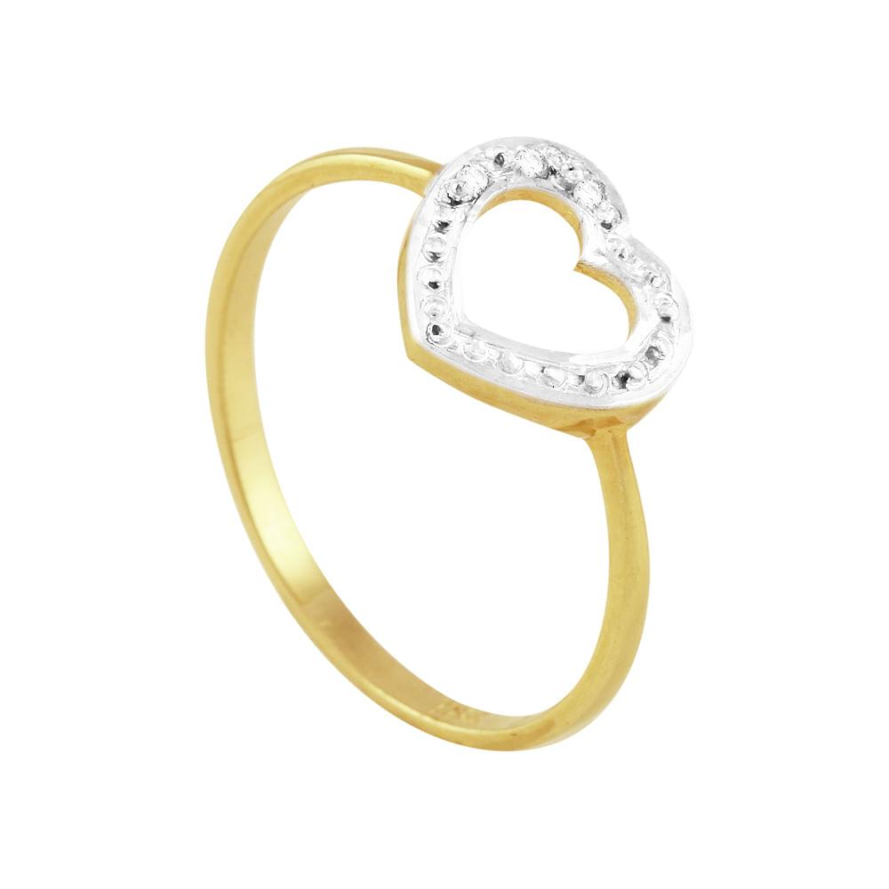 567e50a613d22 Anel em Ouro 18K Coração com Diamantes - AU1323   Bruna Tessaro ...