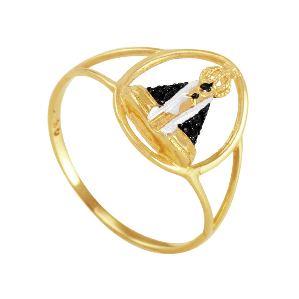 Anel em Ouro 18K N. Sra Aparecida com Safira - AU1412   Bruna ... c5e26ca137