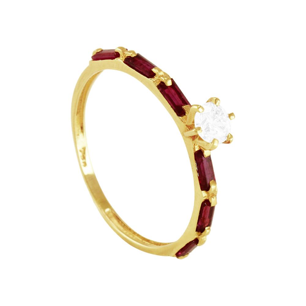 5942a7c28b230 Anel Solitário Ouro 18K com Diamante e Rubis - AU1598   Bruna ...