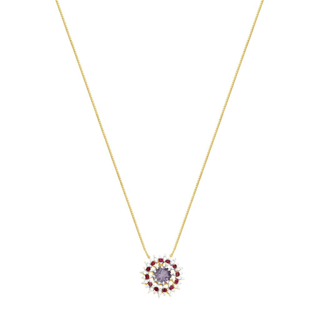 Gargantilha em Ouro 18K com Rubi, Ametista e Diamantes - AU2882 - 45CM 3177fc817e