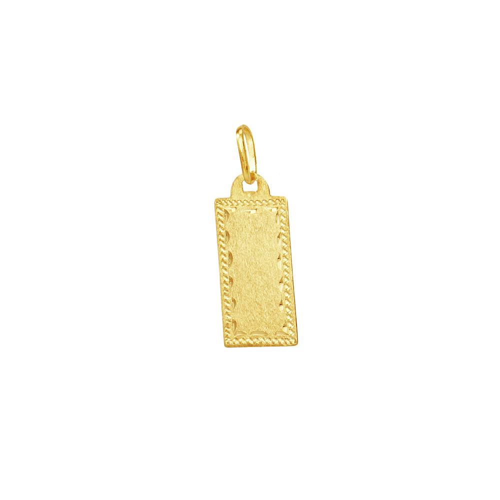 Pingente em Ouro 18K Placa Lisa Trabalhada - AU3762   Bruna Tessaro ... 0c773bbbe9
