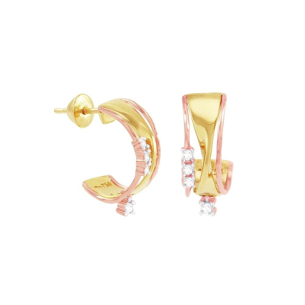 Brinco Argola em Ouro 18K com Diamantes - AU1214   Bruna Tessaro ... 0d8c6bf379