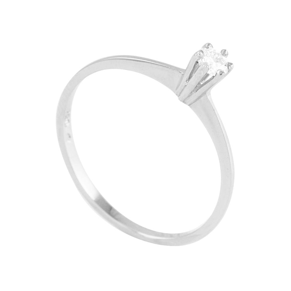 Anel em Ouro Branco 18K Solitário com Diamantes - AU3930   Bruna ... 2093f90bc3