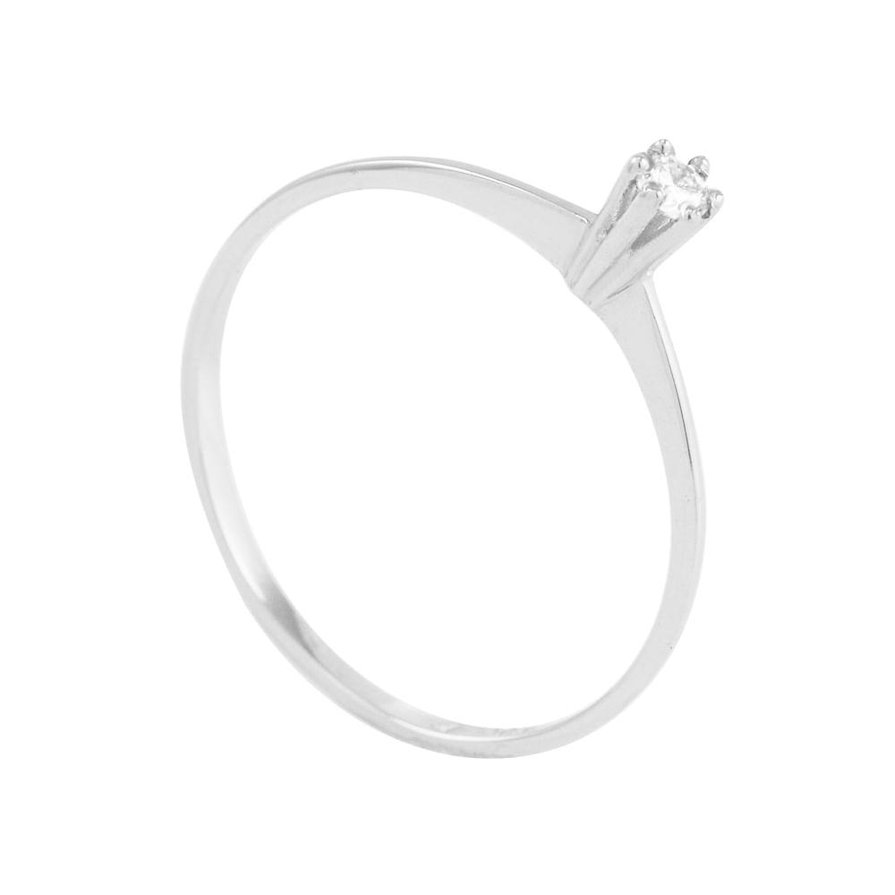 c5879033fdeae Anel em Ouro Branco 18K Solitário com Diamante - AU3947   Bruna ...