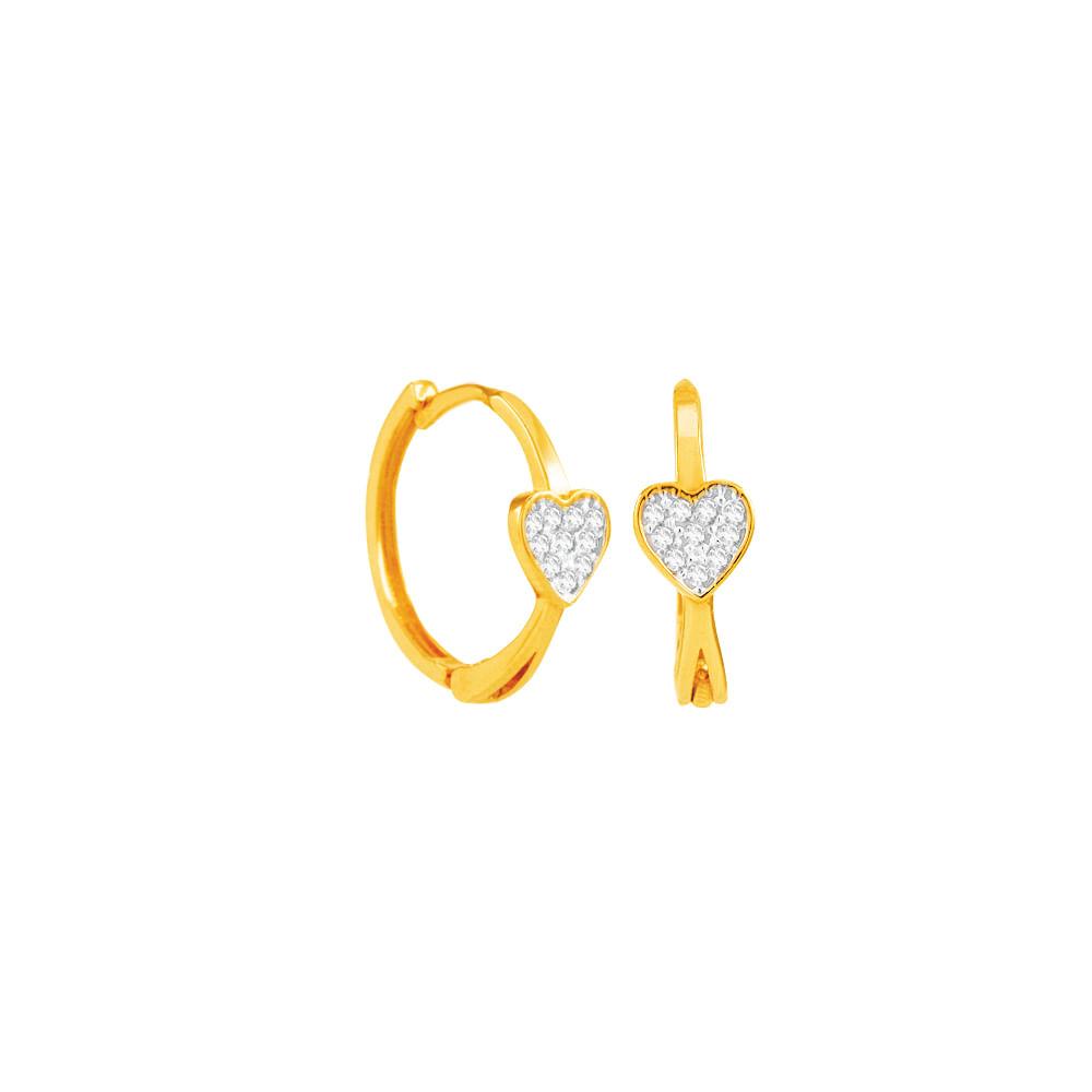 Brinco Argola em Ouro 18K Coração com Zircônias - AU4019   Bruna ... 8ee84f6bab