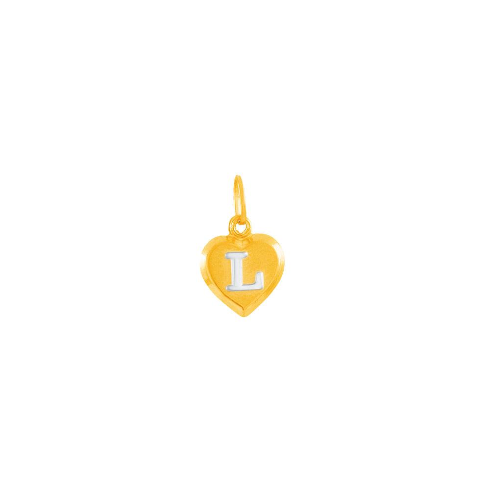 Pingente em Ouro 18K Coração Letra L - AU4184   Bruna Tessaro Joias ... 7d6e744689