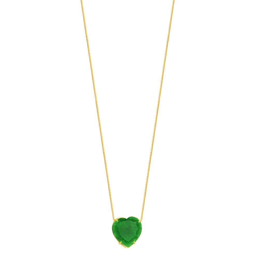 1ae3528a2ba26 Gargantilha em Ouro 18K Coração com Jade - AU4685 - 45CM