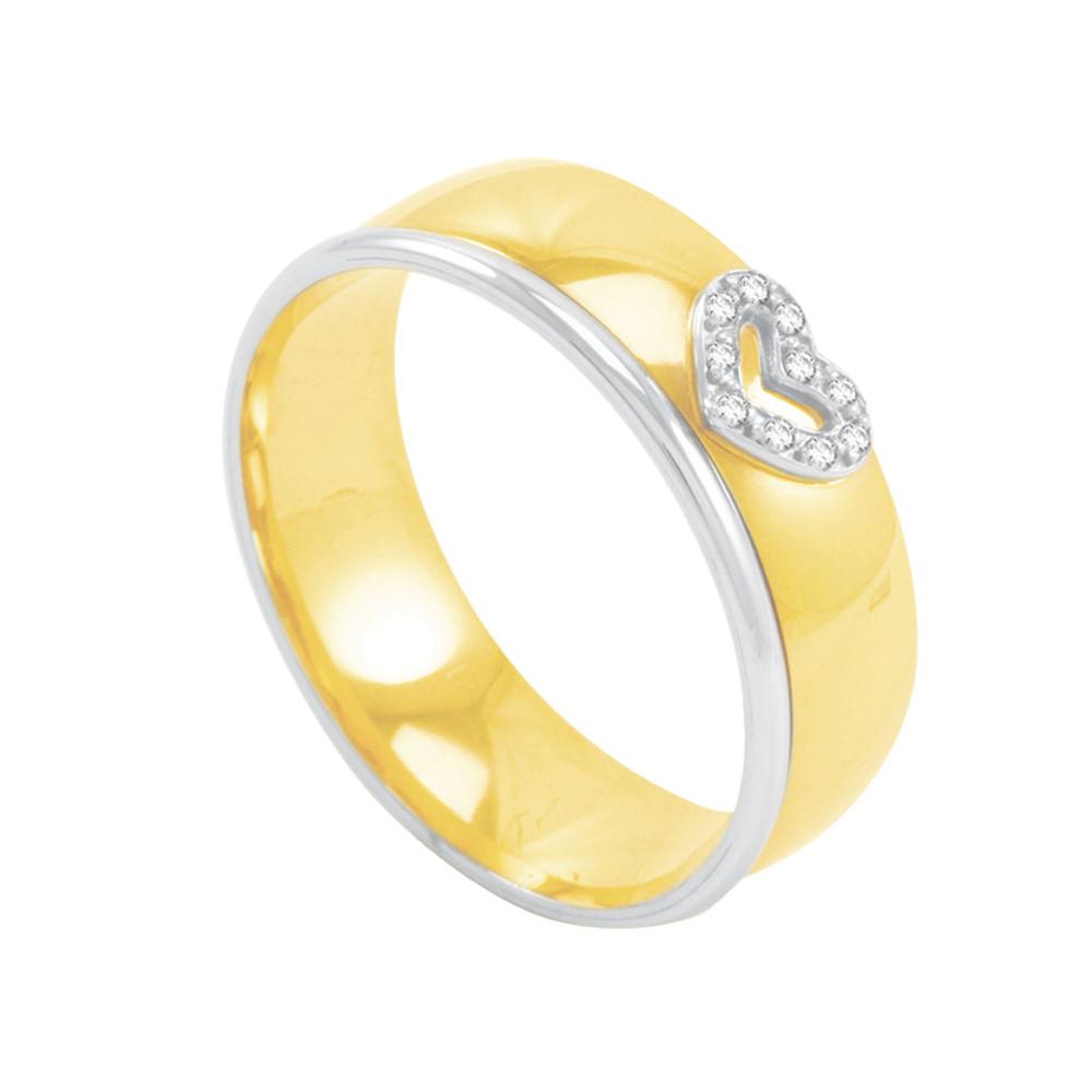 9e9a9adbb2e9f Aliança em Ouro 18K Coração com Diamantes - AU2570   Bruna Tessaro ...