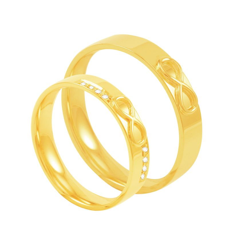 2bb074a34e081 Par de Alianças em Ouro 18K Infinito com Diamantes - AU3316   Bruna ...