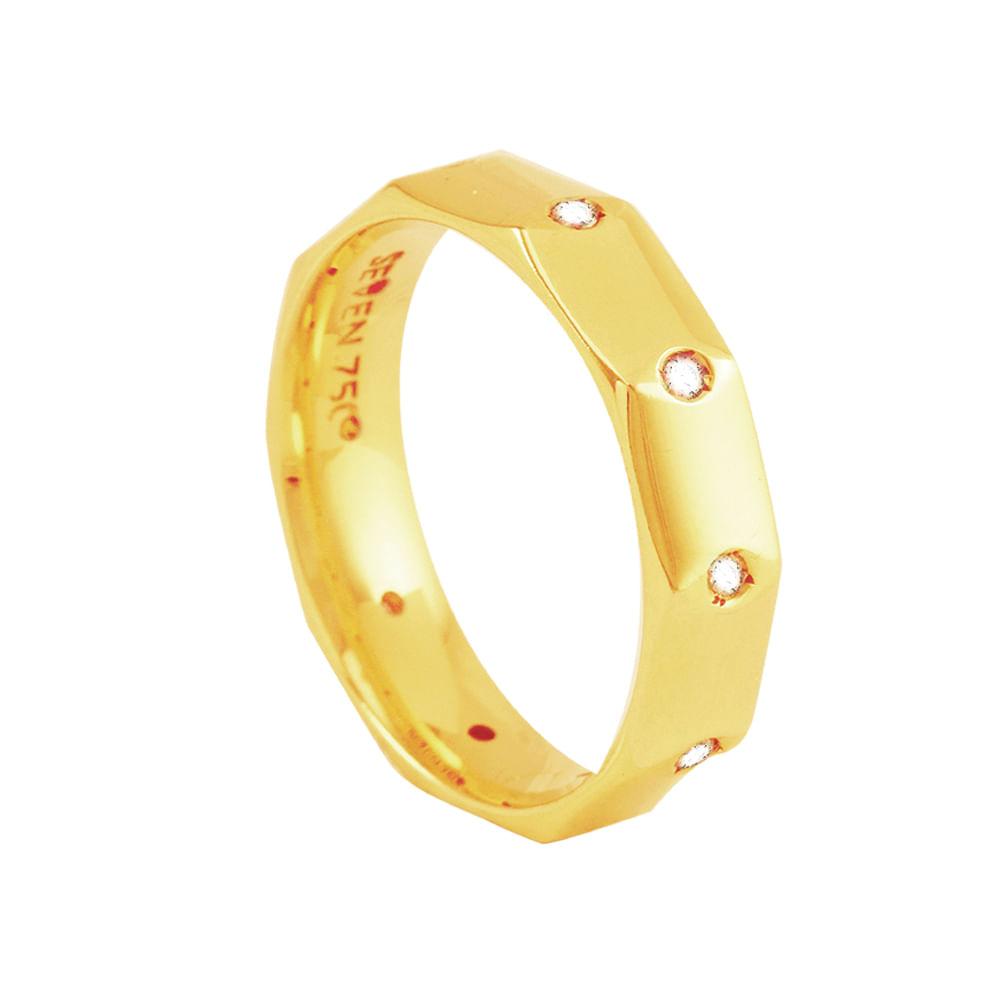 3a8f724631a8e Aliança em Ouro 18K Sextavada com Diamante Feminina - AU1171   Bruna ...