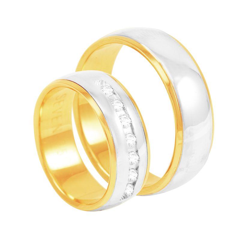 2b7cec4afd1b5 Par de Alianças em Ouro 18K com Diamantes - AU2565   Bruna Tessaro ...