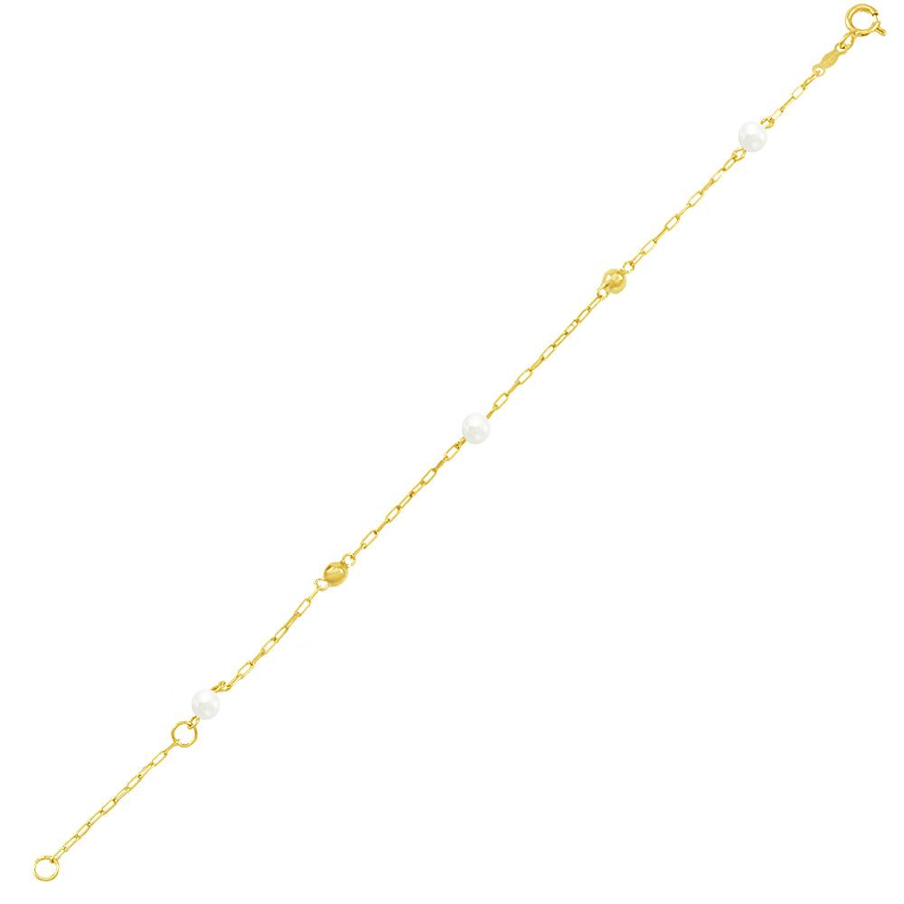 62f4ed33a2a Pulseira Infantil em Ouro 18K com Pérolas e Bolas - AU4708