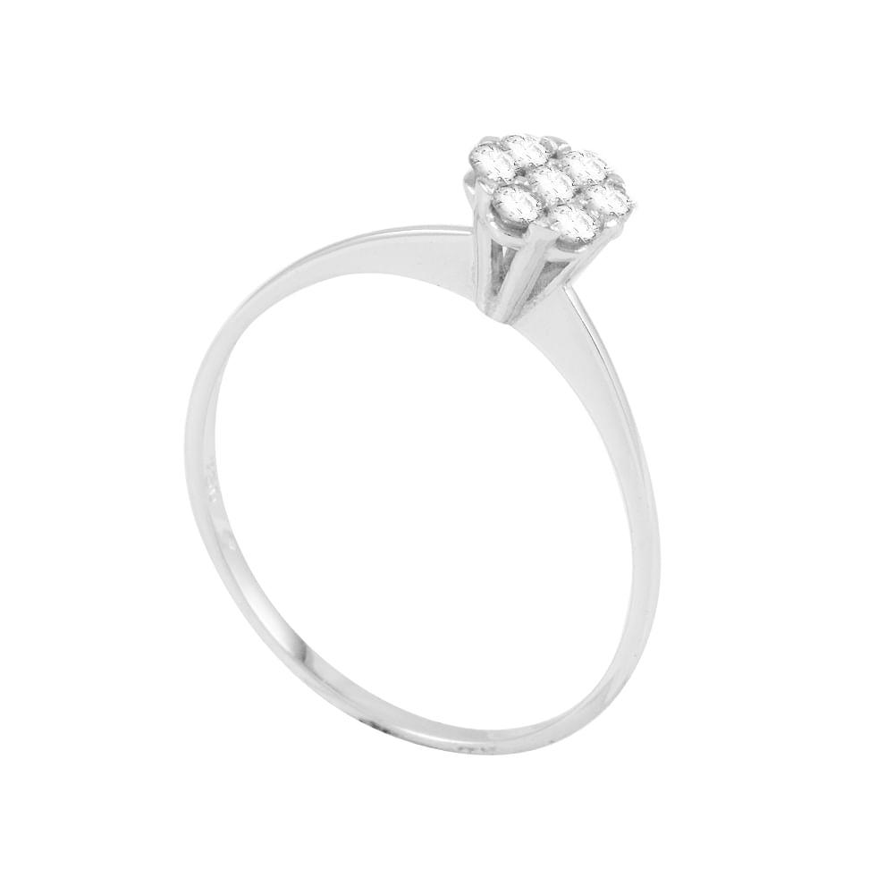 Anel Solitário em Ouro Branco 18K Flor com Diamantes - AU4784 ... 36611ff129