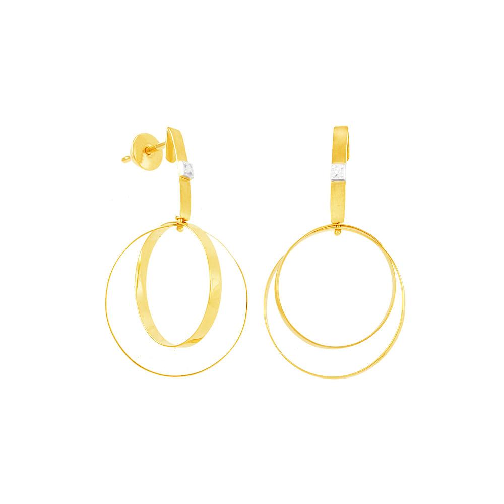 Brinco em Ouro 18K Argolas e Diamante - AU4938   Bruna Tessaro Joias ... 4fe951cd00