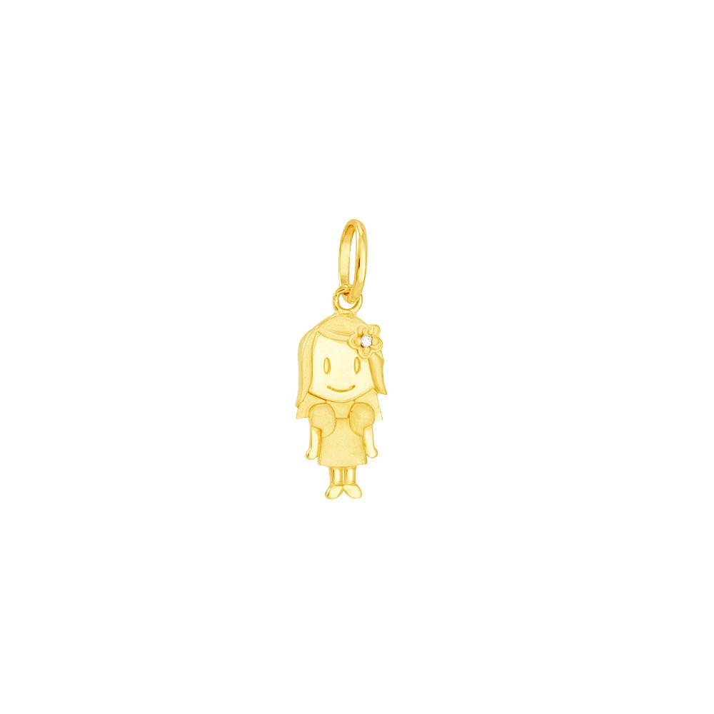 Pingente em Ouro 18K Menina com Diamante - AU5040   Bruna Tessaro ... b9912484b6