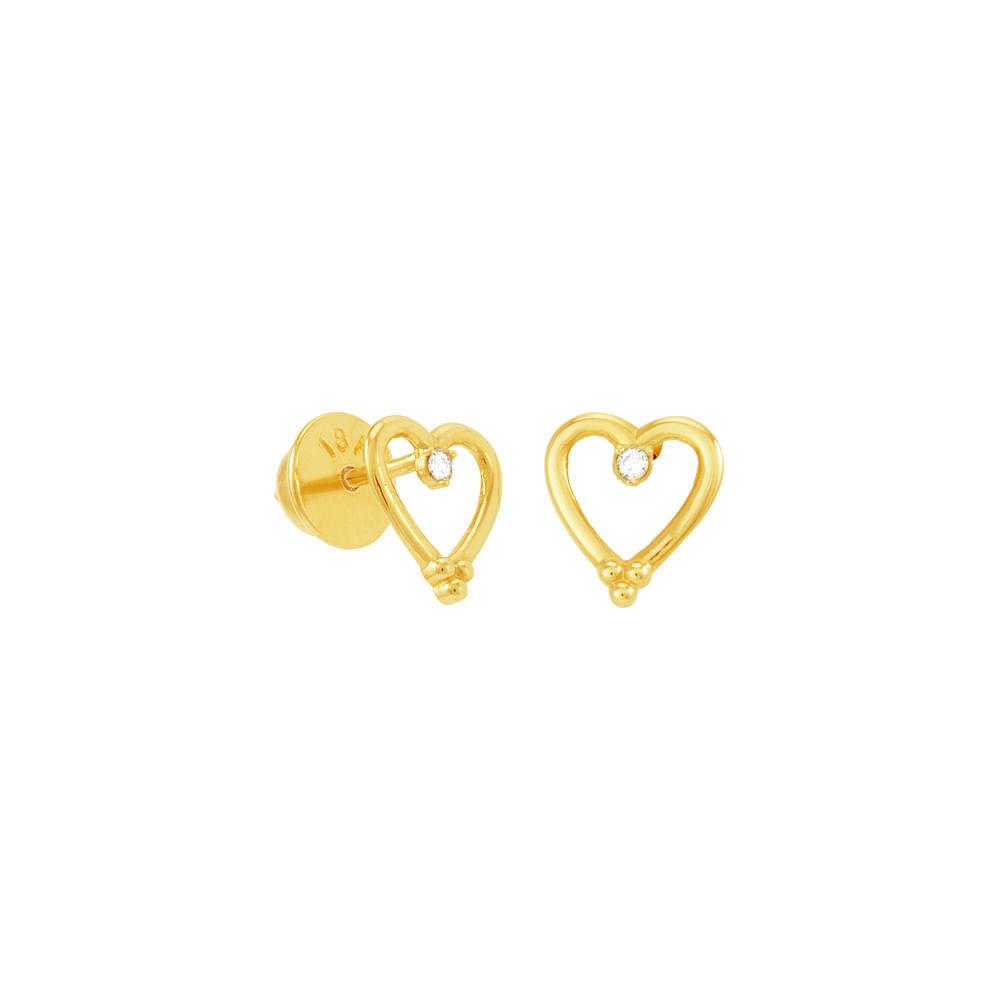 591b692489f7d Brinco em Ouro 18K Coração e Diamantes - AU5081   Bruna Tessaro ...