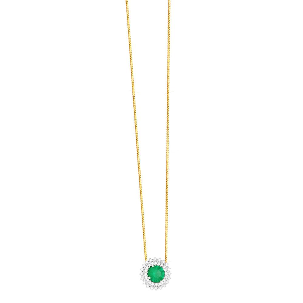d76009df06df5 Gargantilha em Ouro 18K Flor com Esmeralda e Diamantes - AU5090 - 45CM