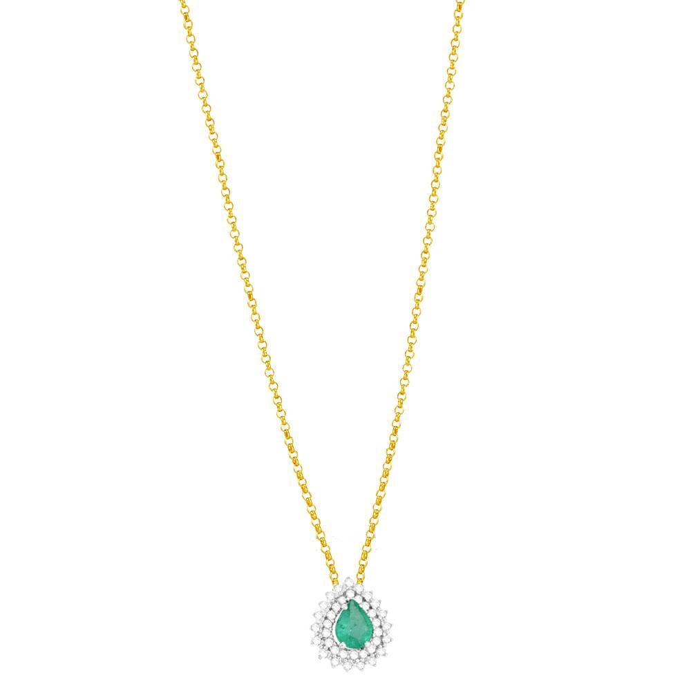 9087464e5f1e3 Gargantilha em Ouro 18K Esmeralda Gota e Diamantes - AU5091 - 45CM