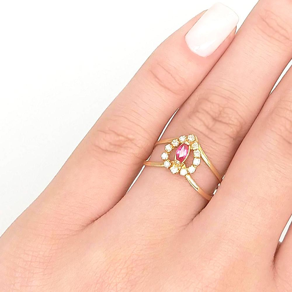 957caeba4f76c Anel em Ouro 18K Rubi e Diamantes - AU5104   Bruna Tessaro Joias ...