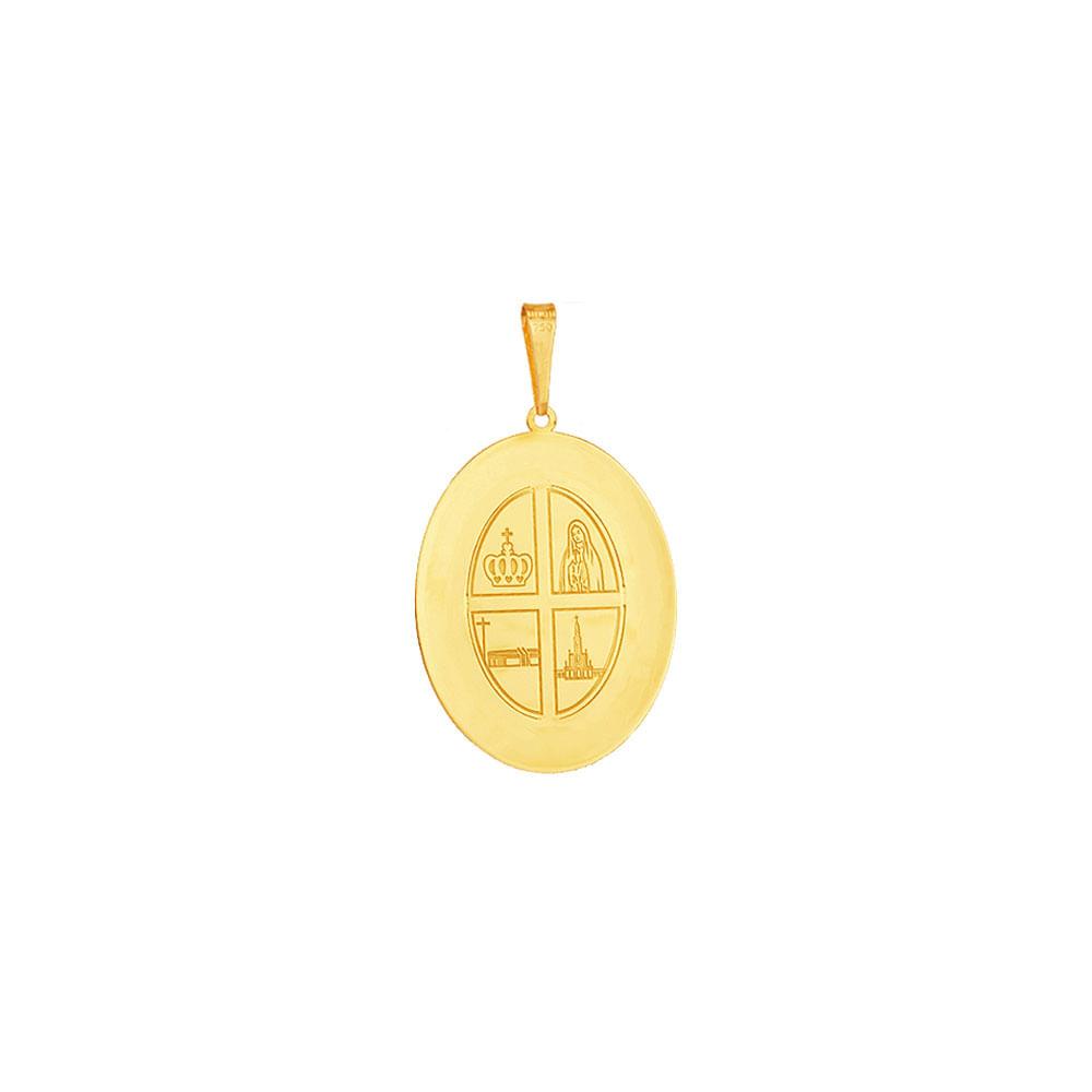 Pingente em Ouro 18K Medalha Nossa Sra de Fátima - AU5136   Bruna ... c8dcd34fb5