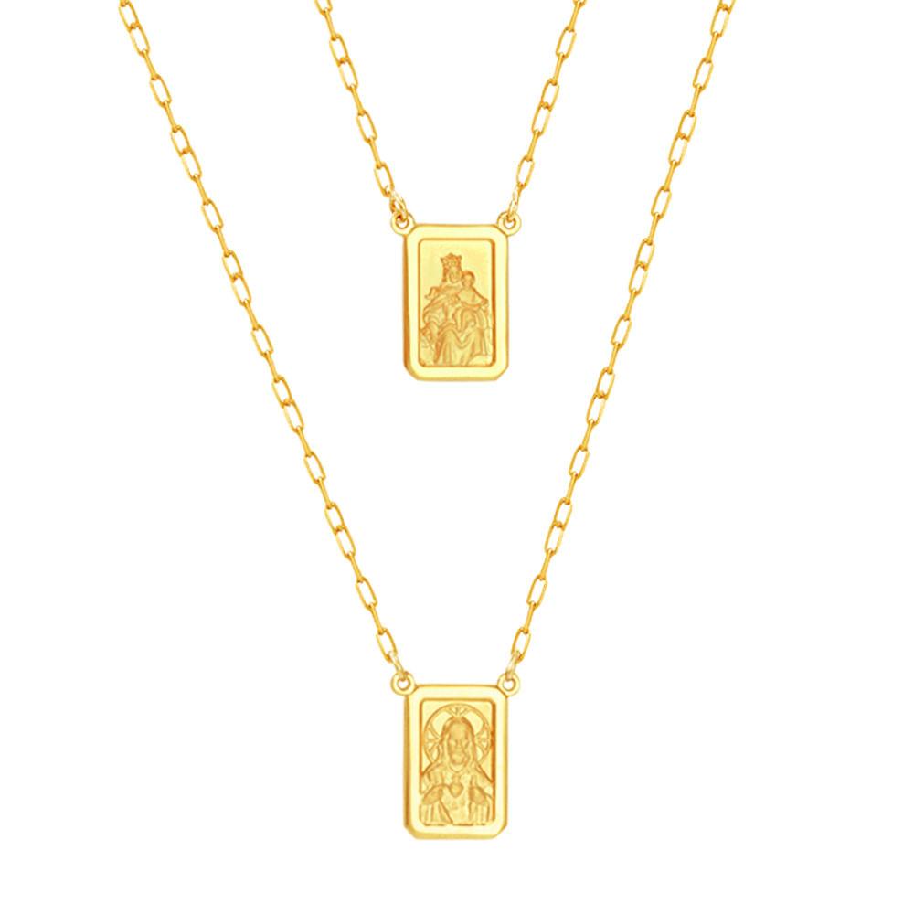 Escapulário em Ouro 18K N. Sra. do Carmo e Sagrado Coração - AU5286 - 70CM bfb6130ef0